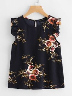 Shop Frilled Armhole Button Closure Back Shell Top online. SheIn offers Frilled Armhole Button Closure Back Shell Top & more to fit your fashionable needs. Mom Outfits, Outfits For Teens, Casual Outfits, Cute Outfits, Look Fashion, Girl Fashion, Fashion Dresses, Fashion Design, Spring Fashion