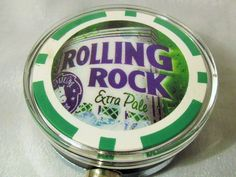 POKER ID HOLDER BADGE REEL with ROLLING ROCK BEER Chip steel metal cord #Handmade