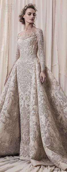 krikor jabotian spring 2018 bridal long sleeves scoop neck full embellishment glamorous princess ball gown a line wedding dress sheer button back royal train (04) lv -- Krikor Jabotian Spring 2018 Wedding Dresses