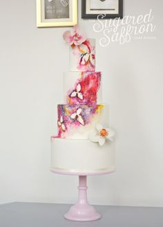 Water color and orchid  wedding cake ~ all hand painted and edible