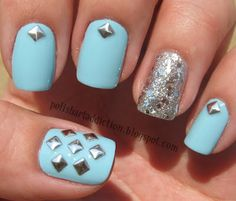 Light blue w/ studded details and a silver glitter accent nail! Fab! I like these, but I wonder if I would pick all the studs off..