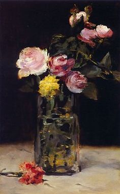 "Édouard Manet ""Roses in a Glass Vase"""