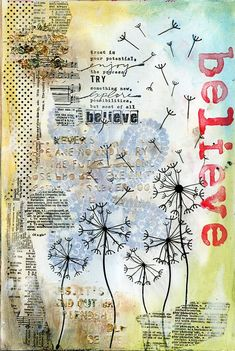 Believe art journal page by Jill Wheeler, featuring Scrap FX Words of Wisdom stencil and paisley stamp.  www.scrapfx.com.au