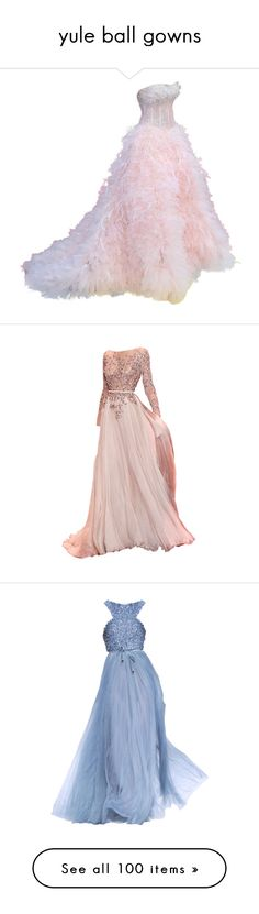 """""""yule ball gowns"""" by missherjh ❤ liked on Polyvore featuring dresses, gowns, long dresses, vestidos, long pink dress, pink ball gown, pink gown, pink dress, blue evening gown and elie saab dresses"""
