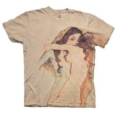 """Schiele Duo Nude Women"""" and other apparel, accessories and trends. Browse and shop 8 related looks. Nude Shirt, Beige T Shirts, Beige Top, Top Pattern, Printed Tees, Retro, Everyday Fashion, Cool Outfits, Mens Tops"""