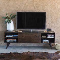Porta-TV vintage in massello di legno di sheesham L 160 cm Soho | Maisons du…