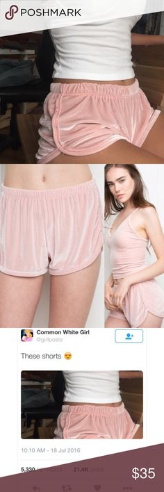 """BNWT Brandy Melville Pink Silky Lisette Shorts Super soft velvet shorts in pink with an elasticized waistband and full silky lining inside. 90% nylon, 10% spandex. 8.5"""" rise, 2"""" inseam, 11"""" waist (stretch). Made In Italy. Free Brandy stickers included.  🌸 I only sell on Posh 🌸 I don't trade 🌸 MY PRICE IS FIRM! I WILL NOT ACCEPT ANY OFFERS!! ❌ No rude comments about price. This is obviously above retail price, so if you want it cheaper, go buy it from the store. Lowballs will be IGNORED❌…"""
