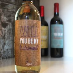 Burlap Will You Be My Bridesmaid Wine Label on Etsy, $6.00