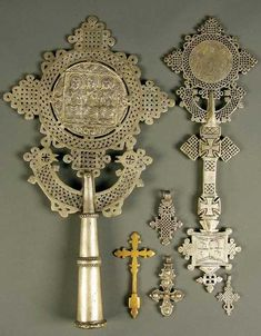 Lot: 433: A GROUP OF SIX COPTIC/ETHIOPIAN CROSSES including, Lot Number: 0433, Starting Bid: $400, Auctioneer: Jackson's Auction, Auction: European & American Art and Russian Works, Date: July 15th, 2008 CDT