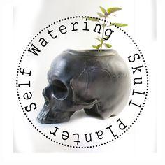 Two Part Ceramic Skull Self Watering planter Available at… - Modern Skull Planter, Self Watering Planter, Human Skull, Ceramic Planters, Clay, Etsy Shop, Ceramics, Modern Decor, Unique Jewelry