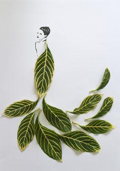 Artista transforma folhas em vestidos interagindo com desenho no papel