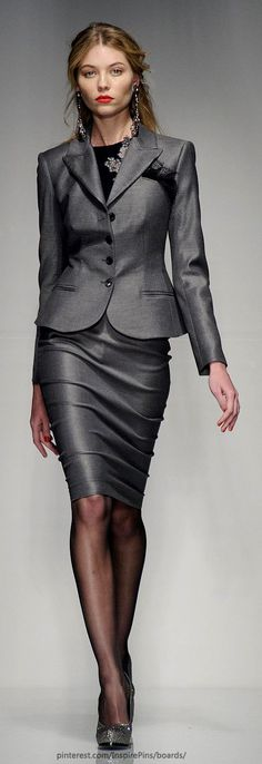 Fall / winter - business casual - work outfit - shinu oxford gray skirt suit