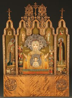 Rare Faberge Icon Triptych Goes to Auction     An extremely important Imperial Russian presentation icon triptych, from the Fabergé workshop and signed by court iconographer Nikolai Sergeevich Emelianov, circa 1912. This icon is rich in history, given by Empress Alexandra Feodorvona to the administrator of Tsarkoe Selo, Col. Dimitry Nikolaevich Loman (1868-1918). The beautiful icon features the Sign Mother of God in the central reserve, characteristically painted with a gem and pearl…