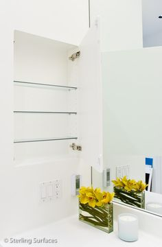 Corian cabinet Storage Units, Corian, Kitchen And Bath, Bathroom Medicine Cabinet, Kitchen Design, Interiors, Design Of Kitchen, Decoration Home, Decor