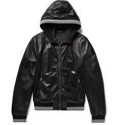 Dolce & Gabbana - Stripe-Trimmed Leather Hooded Bomber Jacket