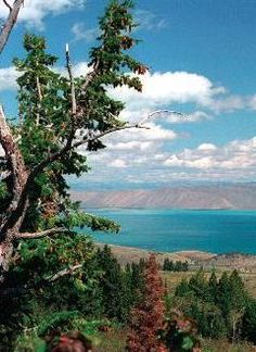 Bear Lake. This view can be seen from the highway on the Utah side of the lake coming out of Logan Canyon.