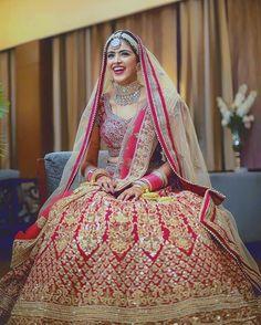 Pink And Gold Embroidered Mehendi Bridal Lehenga Indian Bridal Wear, Asian Bridal, Indian Wedding Outfits, Bridal Outfits, Indian Outfits, Bridal Dresses, Indian Wear, Red Lehenga, Anarkali
