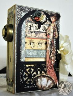 Truly stunning A Ladies' Diary Altered Art Box by Jane Tregenza! There are so many beautiful pages inside too! #graphic45