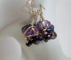 Gemstone Cluster Wrap Earrings, Gold Wire Wrapped Earrings, Pearl Earrings, Handmade Ear Wires, HipChickJewelry
