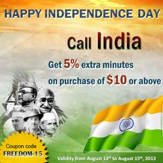 Let's celebrate the freedom with Amantel ! Happy Independence Day - Call India and Get 5% EXTRA MINUTES Coupon Code (FREEDOM-15)