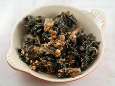 Braised kale w/carmelized onions and walnuts.