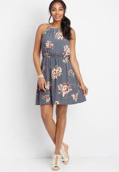 Maurices Womens Floral Gathered Neck Dress Blue - Size X Small Maurices Store, Teacher Style, Blue Dresses, Floral Prints, Casual, Fabric, Model, How To Wear, Shopping