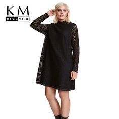 Kissmilk Plus Size Fashion Women Clothing Solid Sexy Lace Dress Long Sleeve Loose Dress Stand Collar Big Size Dress 5XL 6XL 7XL