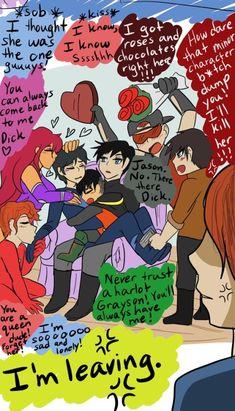 Dick Grayson and his harem. Robin Comics, Batman Robin, Marvel Dc Comics, Superhero Family, Bat Family, Teen Titans Funny, Joker Dc, Cartoon Crossovers, Comics Universe