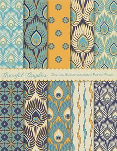 Scrapbook Paper Pack Digital Scrapbooking Background Papers RETRO Pack PEACOCK Blue Gold Navy White 10 Sheets 8.5 x 11 1653gg on Etsy, $3.00