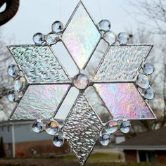 Iridescent Stained Glass Suncatcher by GoodGriefGlass on Etsy, $32.00