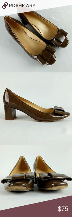 Flash Sale! Kate Spade Dijon Block Heel Bow Kate Spade New York  Dijon Block Heel with Bow  Taupe Patent Leather  Size 7.5 B Made in Italy See pictures for condition (last 2 pics show damage) kate spade Shoes Heels