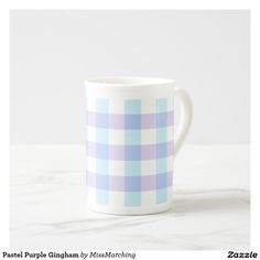 Pastel Purple Gingham Bone China Tea Mug