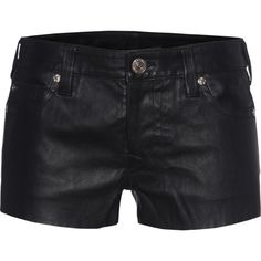 TRUE RELIGION Joey Black // Leather shorts in five-pocket design ($510) ❤ liked on Polyvore featuring shorts, bottoms, leather shorts, true-religion shorts, mid rise shorts, true religion and slim shorts