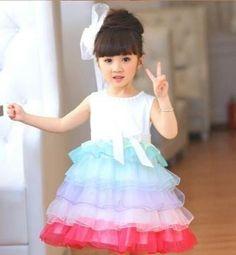 vestido festa princesa infantil arco-iris camadas coloridas