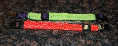 Reflective Yarn Dog collars by Sara Sach - free pattern - uses Hobby Lobby I Love This Yarn! Reflective or Red Heart Yarns - Reflective Yarn/ O want to make these for my 3 pups!