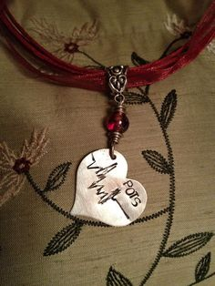 Heart with EKG Line POTS Charm Necklace on Organza Ribbon