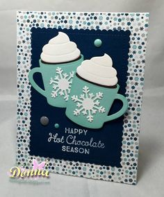 "card winter mugs MFT hot cocoa cups - Echo Park ""Hello Winter"" paper pad MFT - christmas cup card - snowflake #cupcard #EchoParkPaper"