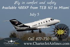 Book This Flight #emptyLeg #TEB NJ to #KOPF Miami $1,150 Seats are limited July 5, 2016