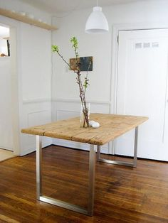 vintage tabletop with ikea legs attached = super affordable table with a great mix of the old and new, by faye mcauliffe of you are the river Diy Dining Room Table, Diy Table, Dining Nook, Kitchen Tables, Ikea Legs, Ikea Table Legs, Desk Legs, Diy Esstisch, Creation Deco