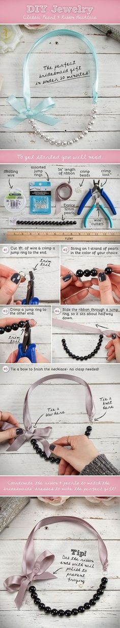 DIY Jewelry  Classic Pearl and Ribbon Necklace  Bridesmaid Gifts