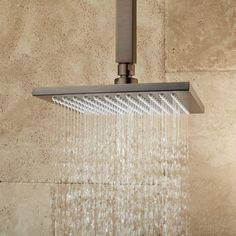Devereaux Ceiling Mount Shower Head with Square Arm - Rainfall Shower Heads - Shower Heads - Bathroom