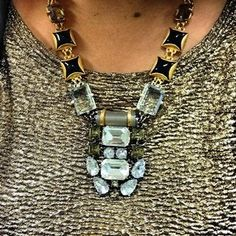 Gold, Crystal & Black Stone Statement Necklace | Phoenix Pendant | Stella & Dot