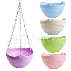 Hanging-Flower-Pot-Chain-Plastic-Planter-Basket-Garden-Flexible-Home-Decoration