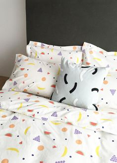 Fruit Bedding by Dusen Dusen, bold patterns on bedding, throws, towels, pillows, and dog beds.