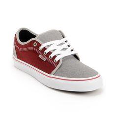 b9f11aa593 Vans Chukka Low Grey   Burgundy Canvas Skate Shoes