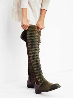Black Forest Over The Knee Boot Made from the finest Italian craftsmanship this gorgeous distressed suede and leather over-the-knee boot features caged straps down the front. Inside zip closure for an easy on/off. Thigh High Boots, Over The Knee Boots, Tall Boots, Shoe Boots, Women's Shoes, Footwear Shoes, Long Boots, Fall Shoes, Summer Shoes