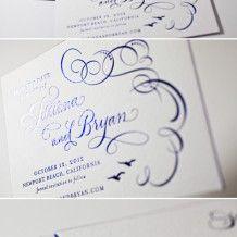 Foil Stamped Ornate Flourish Invitations | Letterpress wedding invitation inspiration | Bella Figura