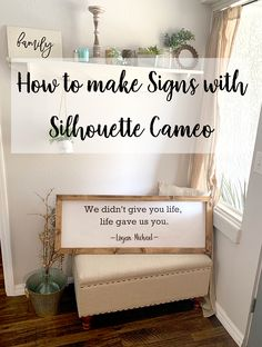 Framed wooden sign tutorial using Cricut or Silhouette to make a stencil. Get a perfectly designed sign and see how to build wooden framed signs.