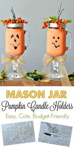 These super cute and fun Mason Jar Pumpkin Candle Holders are perfect for Halloween! And so easy to make to... All supplies came from the Dollar Store... Definitely a budget-friendly craft! #FallDecor #FallIdeas #MasonJarProjects