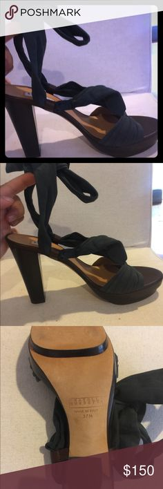 Fratelli Rossetti platform heels - Brand New! Beautiful platform heels with midnight blue nubuck ties around your ankle Fratelli Rossetti Shoes Heels
